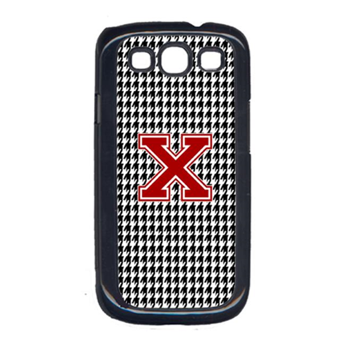 Carolines Treasures CJ1021-X-GALAXYSIII 3 x 5 in. Houndstooth Black Letter X Monogram Initial Cell Phone Cover for Galaxy S111