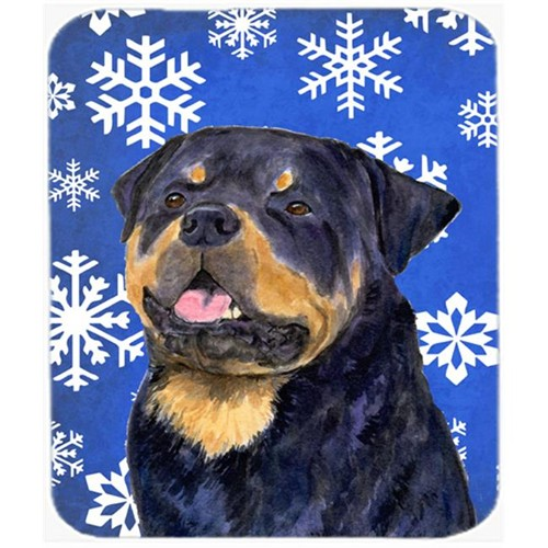 Carolines Treasures SS4662MP Rottweiler Winter Snowflakes Holiday Mouse Pad Hot Pad or Trivet