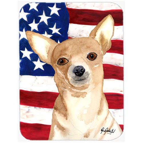 Carolines Treasures RDR3009MP 7.75 x 9.25 In. USA American Flag Chihuahua Mouse Pad Hot Pad or Trivet