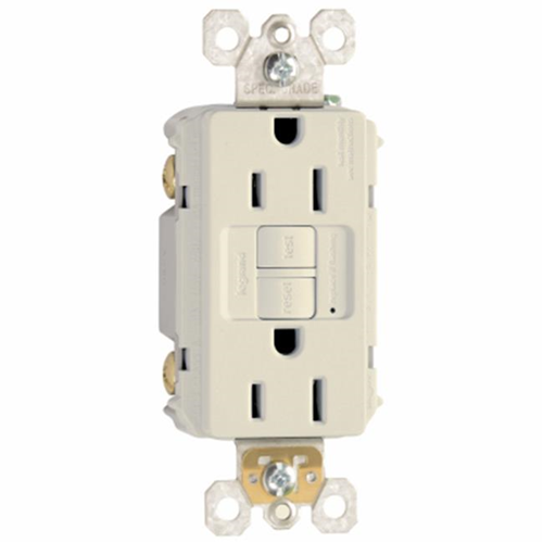 Pass & Seymour 1597LACC10 Self Testing GFCI Outlet 15A Light Almond