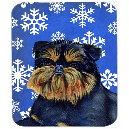 Carolines Treasures LH9298MP Brussels Griffon Winter Snowflakes Holiday Mouse Pad Hot Pad Or Trivet
