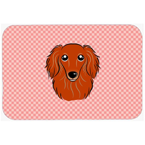 Carolines Treasures BB1214MP Checkerboard Pink Longhair Red Dachshund Mouse Pad Hot Pad Or Trivet 7.75 x 9.25 In.