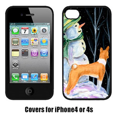 Carolines Treasures SS8556IP4 Snowman With Basenji Iphone4 Cover