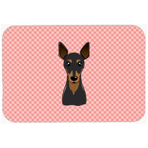 Carolines Treasures BB1240MP Checkerboard Pink Min Pin Mouse Pad Hot Pad Or Trivet 7.75 x 9.25 In.