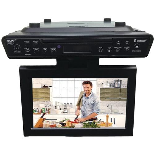 Sylvania SKCR2706BT Under Counter Bluetooth Kitchen TV With Built In DVD  Player U0026 HDMI Black   10.2 In.   Online Only