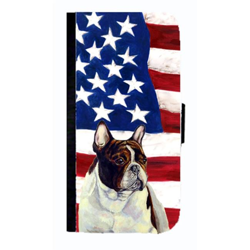 Carolines Treasures LH9006NBIP4 USA American Flag With French Bulldog Cell Phonebook Cell Phone Cover For Iphone 4 Or 4S