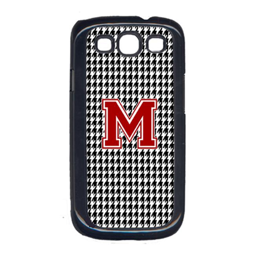 Carolines Treasures CJ1021-M-GALAXYSIII 3 x 5 in. Houndstooth Black Letter M Monogram Initial Cell Phone Cover for Galaxy S111