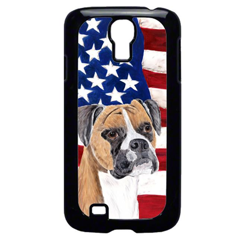 Carolines Treasures SC9113GALAXYS4 USA American Flag with Boxer Cell Phone Cover GALAXY S4