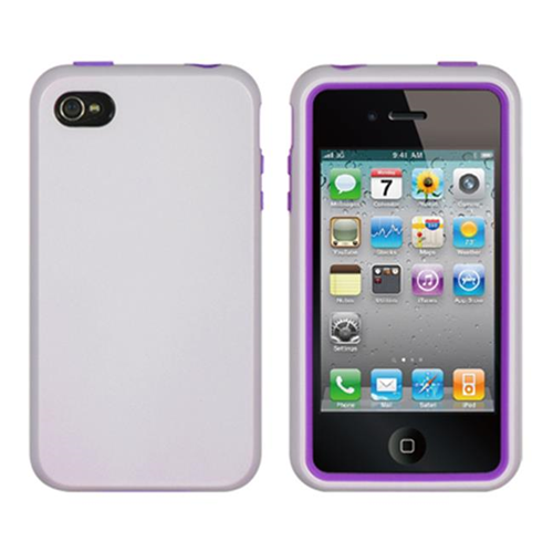 DreamWireless IP-HESCAIP4VZPP-WT iPhone 4S & iPhone 4 Compatible High-End Hybrids Purple Skin Plus White Case