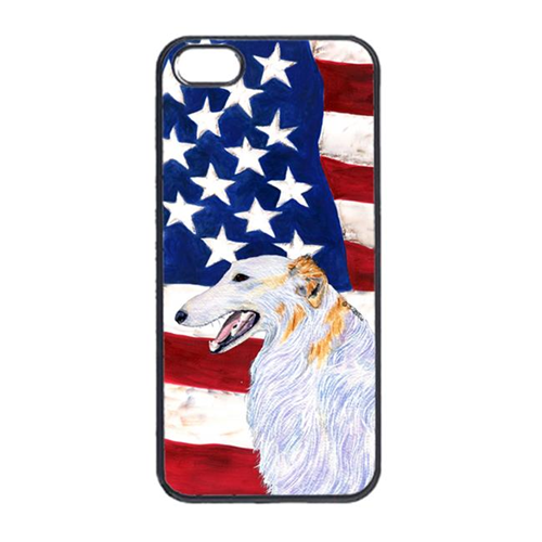 Carolines Treasures SS4231IP4 USA American Flag With Borzoi Iphone 4 Cover