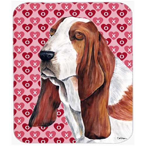 Carolines Treasures SC9267MP Basset Hound Hearts Love And Valentines Day Mouse Pad Hot Pad Or Trivet