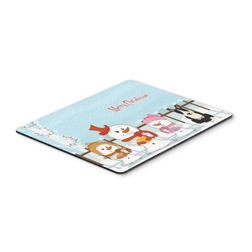 Carolines Treasures BB2464MP Merry Christmas Carolers Bull Terrier Black & White Mouse Pad Hot Pad or Trivet
