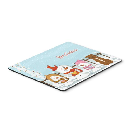 Carolines Treasures BB2378MP Merry Christmas Carolers Staffordshire Bull Terrier Brown Mouse Pad Hot Pad or Trivet