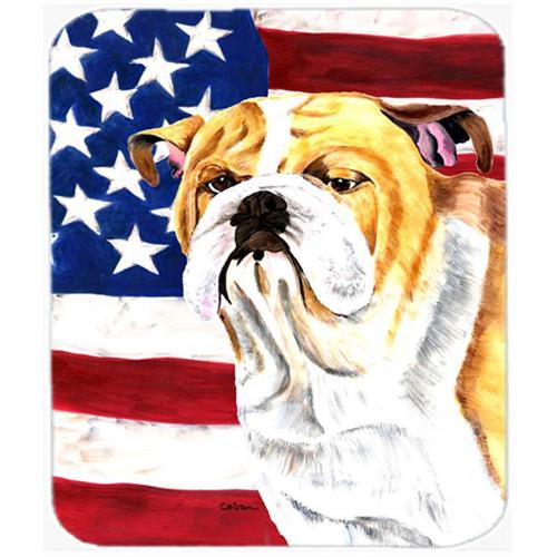 Carolines Treasures SC9002MP Usa American Flag With Bulldog English Mouse Pad Hot Pad Or Trivet
