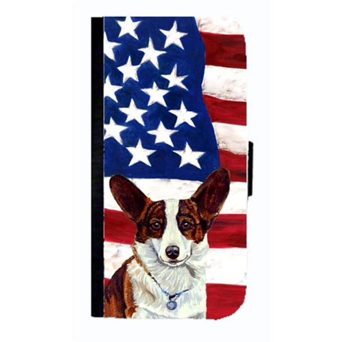 Carolines Treasures LH9011NBGALAXYS4 USA American Flag With Corgi Cell Phonebook Case Cover For Galaxy 4S