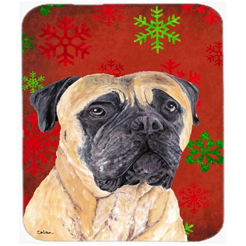 Carolines Treasures SC9425MP Mastiff Red And Green Snowflakes Holiday Christmas Mouse Pad Hot Pad Or Trivet