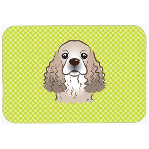Carolines Treasures BB1278MP Checkerboard Lime Green Cocker Spaniel Mouse Pad Hot Pad Or Trivet 7.75 x 9.25 In.