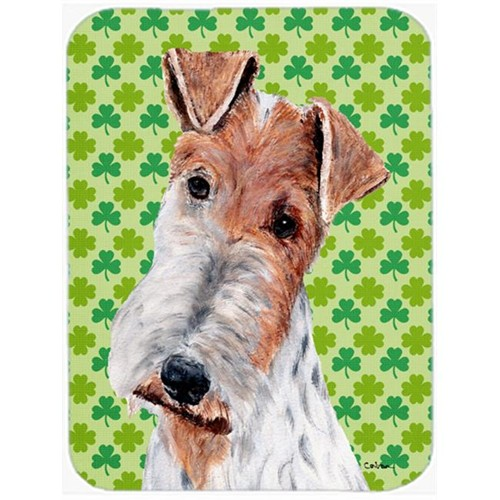 Carolines Treasures SC9724MP Wire Fox Terrier Lucky Shamrock St. Patricks Day Mouse Pad Hot Pad Or Trivet 7.75 x 9.25 In.