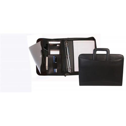 BND 540079BLK Bond Street Black Leather THE STREET - Tablet-iPad Oganizer with Sliding Handles and Removable Binder - Black