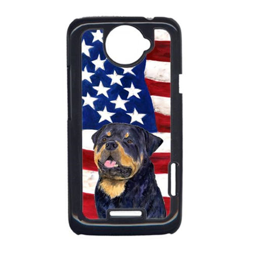 Carolines Treasures SS4009HTCONE USA American Flag With Rottweiler HTC One X Cell Phone Cover