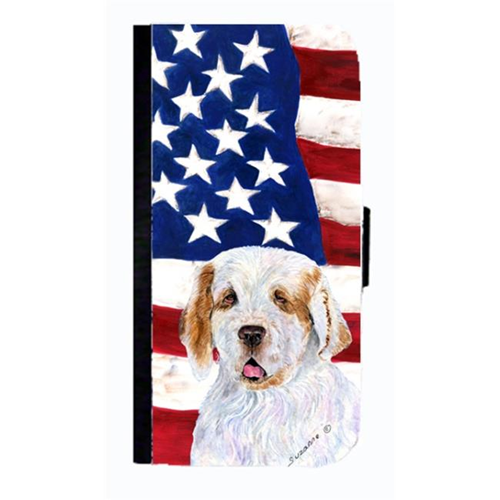 Carolines Treasures SS4027NBGALAXYS4 USA American Flag With Clumber Spaniel Cell Phone Case Cover For Galaxy 4S