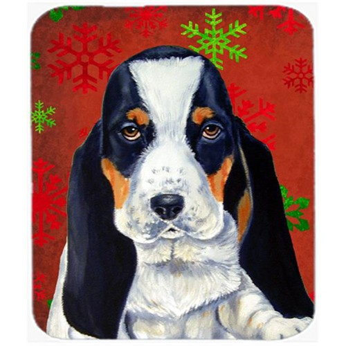 Carolines Treasures LH9329MP Basset Hound Red And Green Snowflakes Christmas Mouse Pad Hot Pad Or Trivet - 7.75 x 9.25 In.
