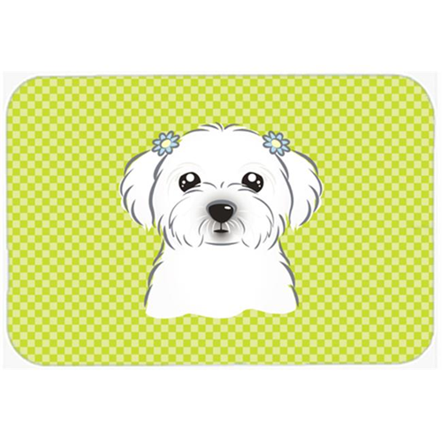 Carolines Treasures BB1270MP Checkerboard Lime Green Maltese Mouse Pad Hot Pad Or Trivet 7.75 x 9.25 In.