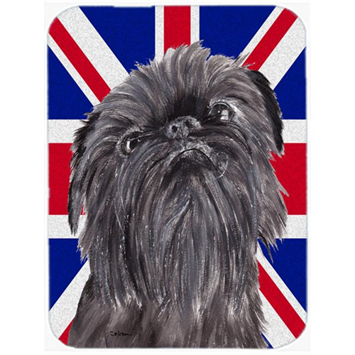 Carolines Treasures SC9863MP 7.75 x 9.25 In. Brussels Griffon With Engish Union Jack British Flag Mouse Pad Hot Pad Or Trivet