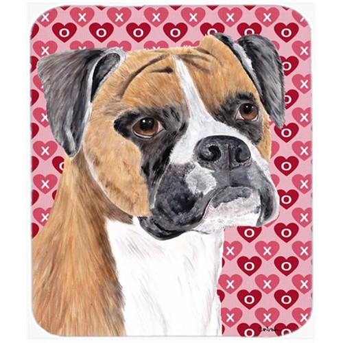 Carolines Treasures SC9249MP Boxer Hearts Love And Valentines Day Portrait Mouse Pad Hot Pad Or Trivet