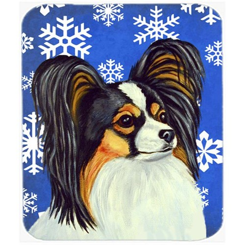 Carolines Treasures LH9300MP Papillon Winter Snowflakes Holiday Mouse Pad Hot Pad Or Trivet
