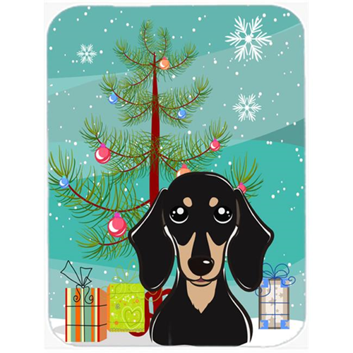 Carolines Treasures BB1587MP Christmas Tree And Smooth Black And Tan Dachshund Mouse Pad Hot Pad & Trivet