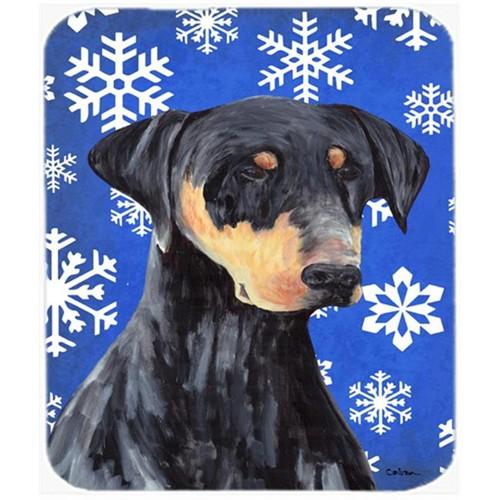 Carolines Treasures SC9377MP Doberman Winter Snowflakes Holiday Mouse Pad Hot Pad or Trivet