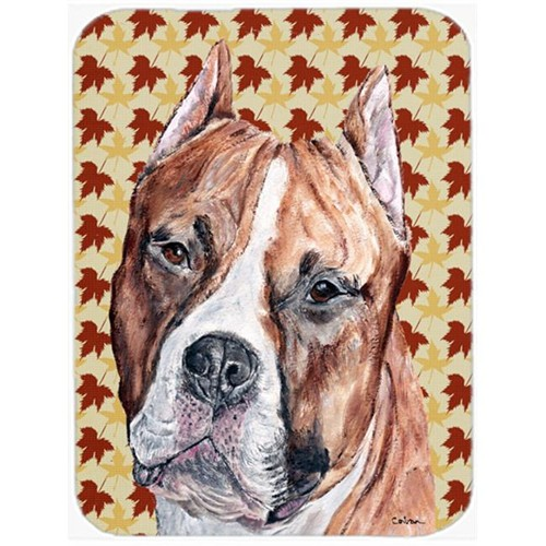 Carolines Treasures SC9680MP Staffordshire Bull Terrier Staffie Fall Leaves Mouse Pad Hot Pad Or Trivet 7.75 x 9.25 In.