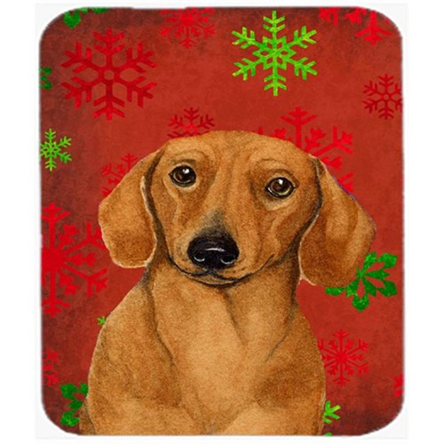 Carolines Treasures LH9312MP Dachshund Red And Green Snowflakes Christmas Mouse Pad Hot Pad Or Trivet - 7.75 x 9.25 In.