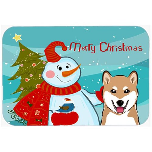 Carolines Treasures BB1845MP Snowman With Shiba Inu Mouse Pad Hot Pad & Trivet