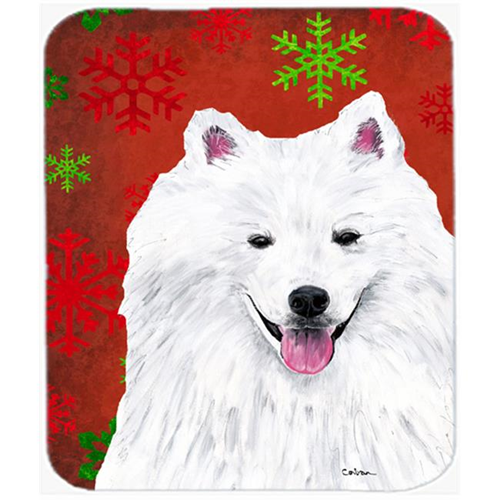 Carolines Treasures SC9419MP American Eskimo Red And Green Snowflakes Christmas Mouse Pad Hot Pad Or Trivet