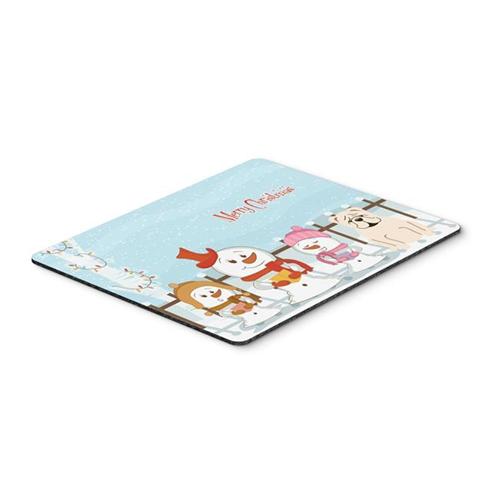 Carolines Treasures BB2454MP Merry Christmas Carolers English Bulldog White Mouse Pad Hot Pad or Trivet