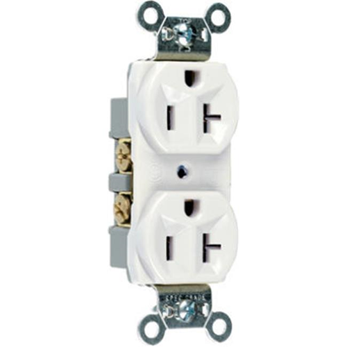 Pass & Seymour CR20WCC12 20A 125V 2 Pole 3 Wire Grounding Heavy Duty Duplex Outlet White