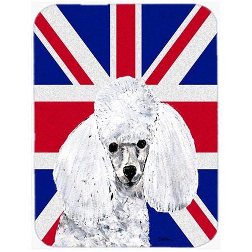 Carolines Treasures SC9886MP 7.75 x 9.25 In. White Toy Poodle With English Union Jack British Flag Mouse Pad Hot Pad Or Trivet