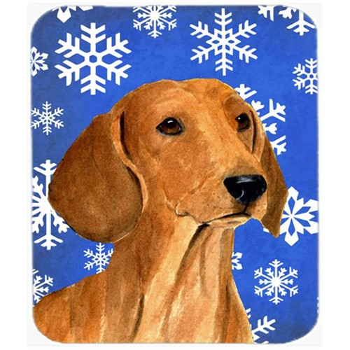 Carolines Treasures SS4625MP Dachshund Winter Snowflakes Holiday Mouse Pad Hot Pad or Trivet