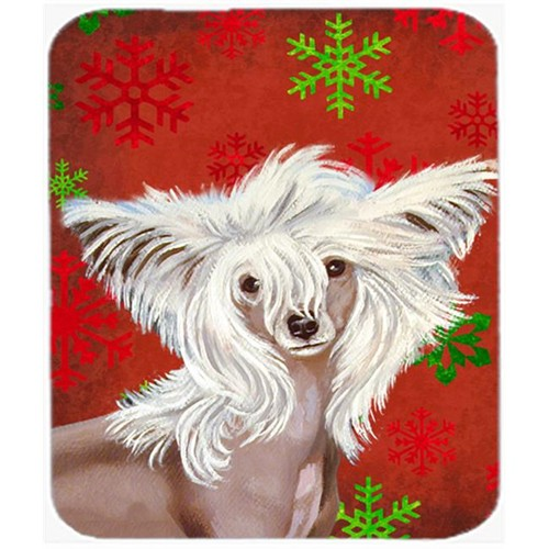 Carolines Treasures LH9347MP Chinese Crested Red And Green Snowflakes Christmas Mouse Pad Hot Pad Or Trivet - 7.75 x 9.25 In.