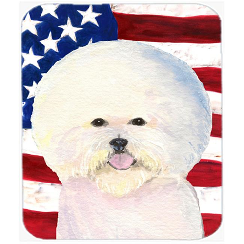 Carolines Treasures SS4011MP Usa American Flag With Bichon Frise Mouse Pad Hot Pad Or Trivet