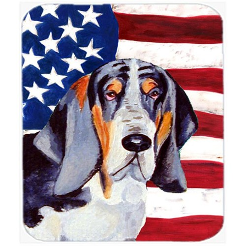 Carolines Treasures LH9014MP Usa American Flag With Basset Hound Mouse Pad Hot Pad Or Trivet