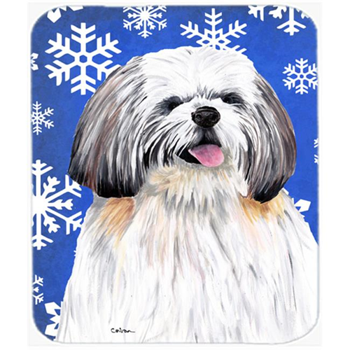 Carolines Treasures SC9383MP Shih Tzu Winter Snowflakes Holiday Mouse Pad Hot Pad or Trivet