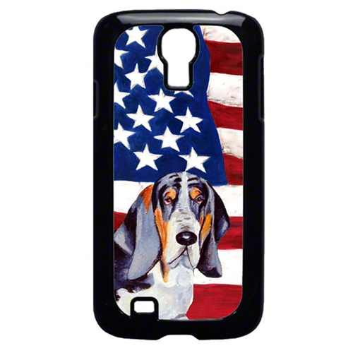 Carolines Treasures LH9014GALAXYS4 USA American Flag with Basset Hound Cell Phone Cover GALAXY S4