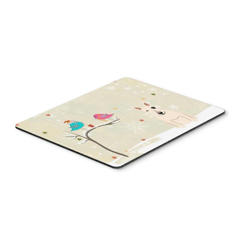 Carolines Treasures BB2610MP Christmas Presents Between Friends Bull Terrier White Mouse Pad Hot Pad or Trivet