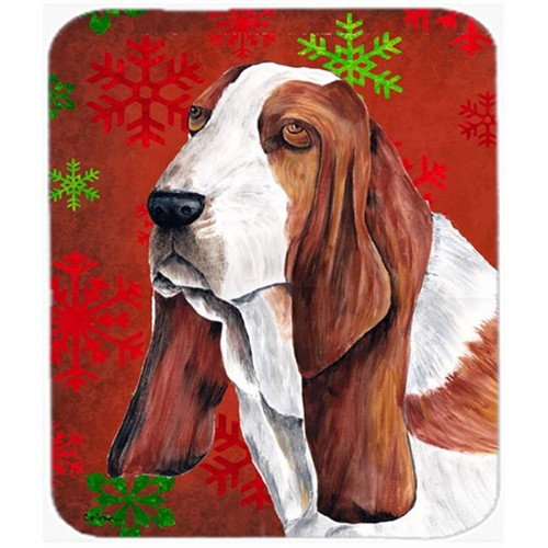 Carolines Treasures SC9412MP Basset Hound Red And Green Snowflakes Christmas Mouse Pad Hot Pad Or Trivet