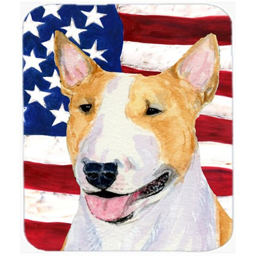 Carolines Treasures SS4023MP Usa American Flag With Bull Terrier Mouse Pad Hot Pad Or Trivet