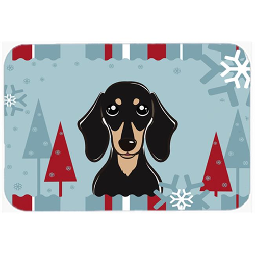 Carolines Treasures BB1711MP Winter Holiday Smooth Black And Tan Dachshund Mouse Pad Hot Pad & Trivet