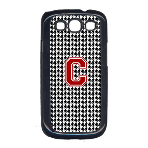 Carolines Treasures CJ1021-C-GALAXYSIII 3 x 5 in. Houndstooth Black Letter C Monogram Initial Cell Phone Cover for Galaxy S111